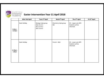 Year 11 Easter Intervention
