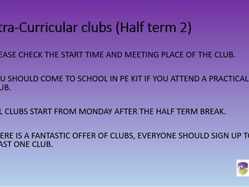Extra Curricular Clubs October 2020